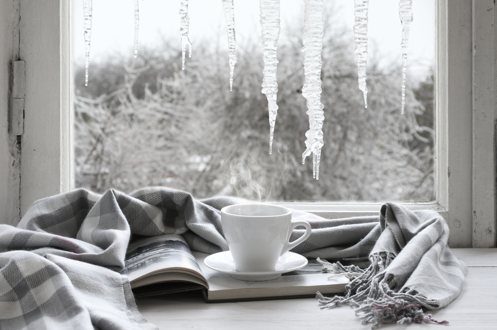 Window with Icicle hanging and Cup