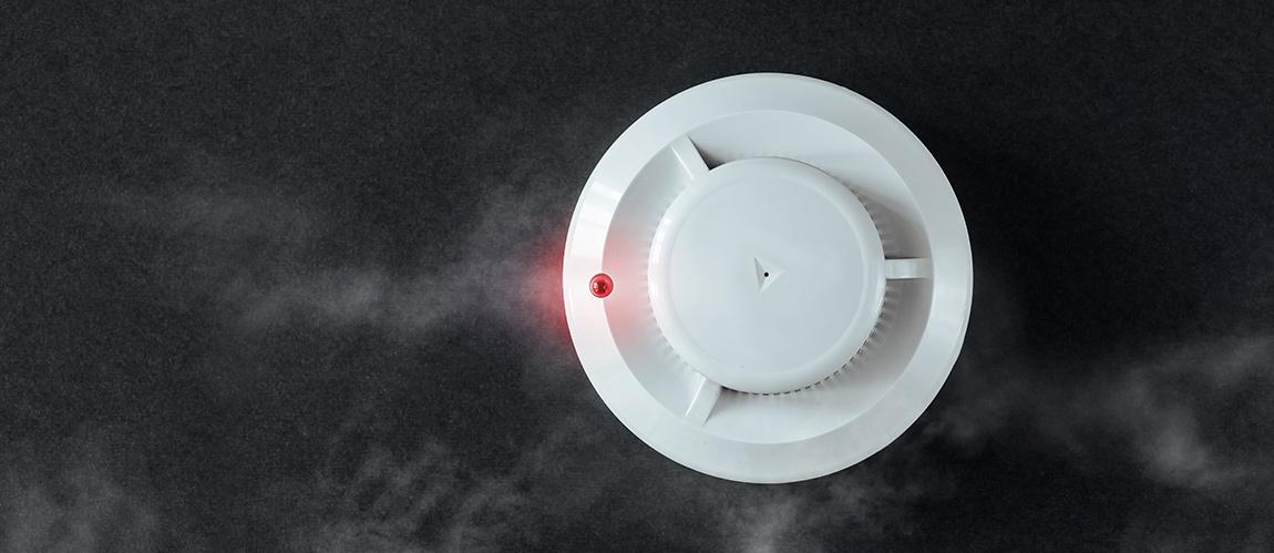 smoke detector black background
